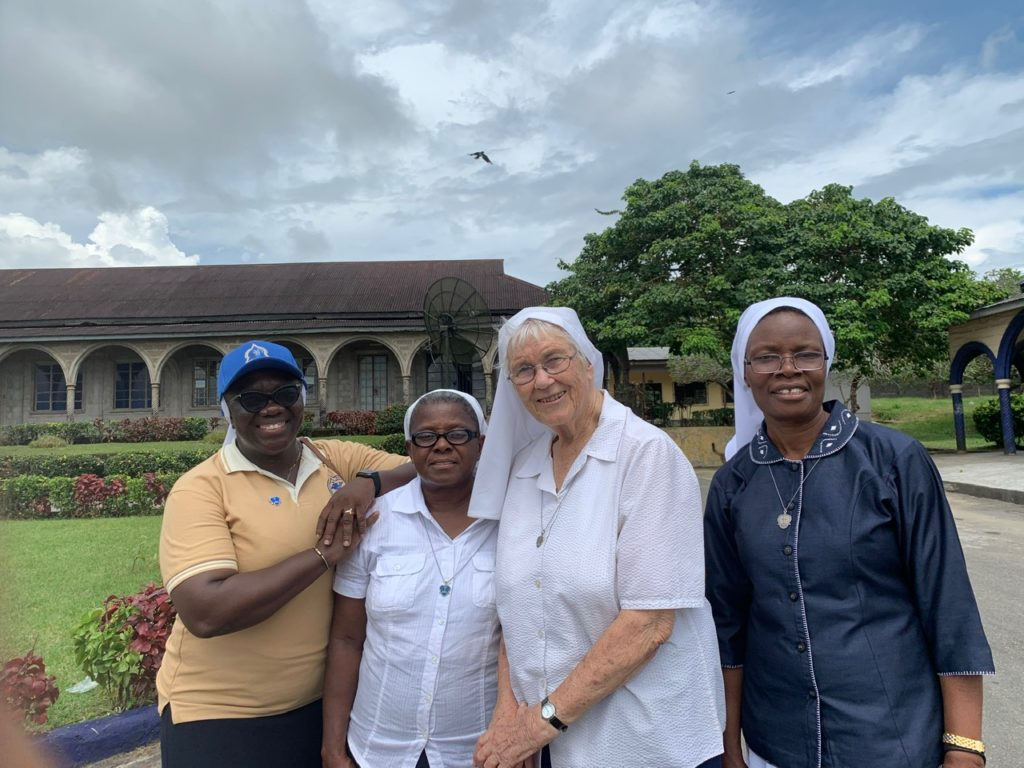 Genevieve welcomed by non walkers, Srs. Agnes, Ann and Terry.