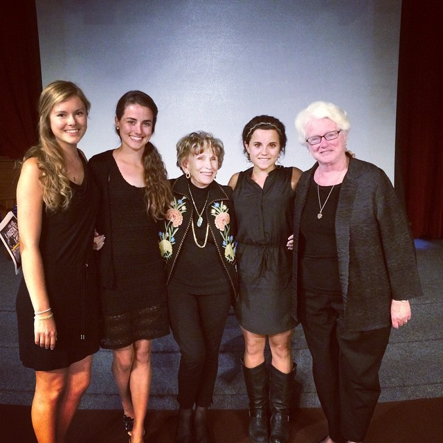 Tobie Tondi (right) with Dr. Edith Eger, Ph.D., Auschwitz survivor and three University of San Diego seniors, Tobie's students, who planned the Yom Ha Shoah program for Holocaust Remembrance Day.